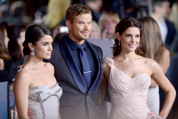 The Red Carpet at the 'Breaking Dawn' Premiere [the twilight saga: breaking dawn - part 2,shoulder,fashion,dress,gown,hairstyle,formal wear,haute couture,suit,event,fashion model,arrivals,actors,ashley greene,kellan lutz,nikki reed,l-r,summit entertainment,premiere,premiere]