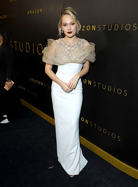 Amazon Studios Golden Globes After Party - Red Carpet [clothing,shoulder,dress,fashion,hairstyle,beauty,lady,joint,waist,blond,kelli berglund,beverly hills,california,the beverly hilton hotel,amazon studios golden globes,party,red carpet,kelli berglund,los angeles,71st golden globe awards,party 01,party,photograph,celebrity,amazon studios,actor]