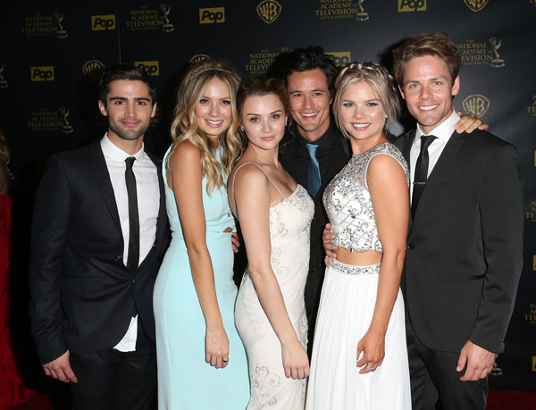 The 42nd Annual Daytime Emmy Awards - Press Room [event,premiere,formal wear,fashion,suit,dress,fun,tuxedo,smile,actors,max ehrich,matthew atkinson,kelli goss,hunter king,melissa ordway,l-r,room,press room,daytime emmy awards]