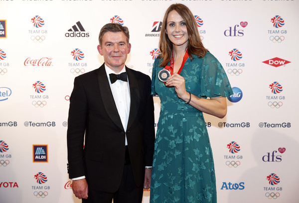The Team GB Ball 2018 [red,award,event,carpet,award ceremony,suit,formal wear,premiere,red carpet,kelly sotherton,hugh robertson,team gb ball,bronze medal,england,london,the royal horticultural halls,team gb,team gb ball 2018,2008 olympics]
