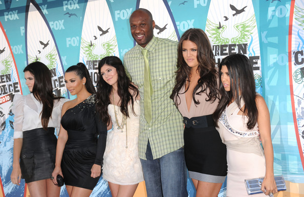 Kendall Jenner Television personalities Kendall Jenner, Kim Kardashian, Kylie Jenner, NBA player Lamar Odom, Khloe Kardasian and Kourtney Kardashian arrive at the 2010 Teen Choice Awards at Gibson Amphitheatre on August 8, 2010 in Universal City, California.