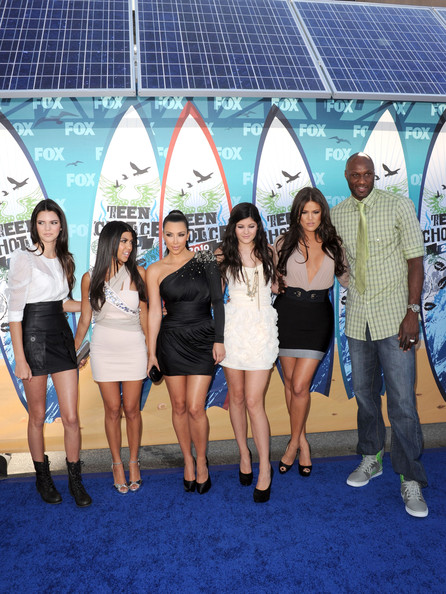 Kendall Jenner Television personalities Kendall Jenner, Kourtney Kardashian, Kim Kardashian, Kylie Jenner, Khloe Kardasian and NBA player Lamar Odom arrive at the 2010 Teen Choice Awards at Gibson Amphitheatre on August 8, 2010 in Universal City, California.