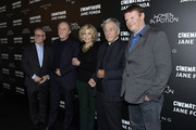 (L-R) Thierry Fremaux, Francois-Henri Pinault, Jane Fonda, Costa Gavras and Frederic Bonnaud attend Kering Women In Motion Master Class With Jane Fonda at la cinematheque on October 22, 2018 in Paris, France.