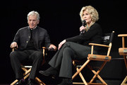 Costa Gavras and Jane Fonda speak on stage Kering Women In Motion Master Class With Jane Fonda at la cinematheque on October 22, 2018 in Paris, France.