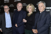 (L-R) Thierry Fremaux, Francois-Henri Pinault, Jane Fonda, and Costa Gavras attend Kering Women In Motion Master Class With Jane Fonda at la cinematheque on October 22, 2018 in Paris, France.