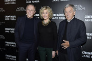(L-R) Francois-Henri Pinault, Jane Fonda, and Costa Gavras attend Kering Women In Motion Master Class With Jane Fonda at la cinematheque on October 22, 2018 in Paris, France.
