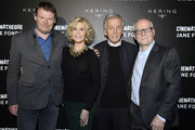 (L-R) Frederic Bonnaud, Jane Fonda, Costa Gavras and Thierry Fremaux attend Kering Women In Motion Master Class With Jane Fonda at la cinematheque on October 22, 2018 in Paris, France.