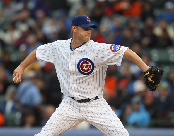 Kerry Wood Kerry Wood #34 of the Chicago Cubs pitches against the San Francisco Giants at Wrigley Field on May 13, 2011 in Chicago, Illinois. The Cubs defeated the Giants 11-4.