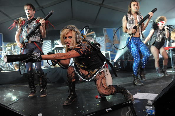 Kesha Singer Ke$ha performs onstage during the Bud Light Hotel event with performances by Nelly, Ke$ha and Pitbull on February 5, 2011 in Dallas, Texas.