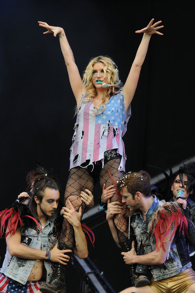 Kesha Ke$ha performs live on stage during the second day of the Wireless Festival at Hyde Park on July 2, 2011 in London, England.