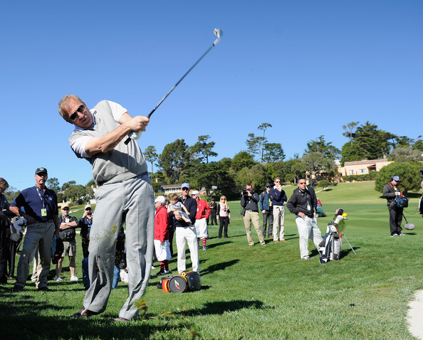 Kevin Costner Actor Kevin Costner plays a shot during the 3M Celebrity Challenge at the AT&T Pebble Beach National Pro-Am at Pebble Beach Golf Links on February 9, 2011  in Pebble Beach, California.