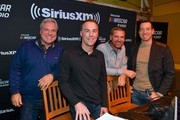 Matt Yocum, Kevin Harvick, Clint Boyer, and Kyle Busch arrive at Margaritaville on December 04, 2019 in Nashville, Tennessee.