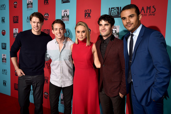 'American Horror Story: Freak Show' Screening — Part 2 [american horror story: freak show,red,premiere,event,carpet,actors,kevin mchale,darren criss,becca tobin,chord overstreet,l-r,premiere screening of fx,red carpet,premiere screening]