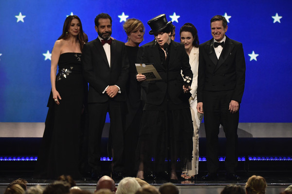 The 24th Annual Critics' Choice Awards - Show [performance,event,performing arts,stage,formal wear,concert,talent show,award ceremony,musical theatre,award,l-r,critics choice awards,show,marin hinkle,tony shalhoub,amy sherman-palladino,daniel palladino,rachel brosnahan,kevin pollak]