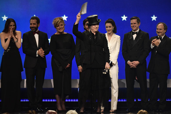 The 24th Annual Critics' Choice Awards - Show [entertainment,performance,event,performing arts,musical theatre,heater,musical,stage,formal wear,award,l-r,critics choice awards,show,marin hinkle,tony shalhoub,daniel palladino,amy sherman-palladino,michael zegen,rachel brosnahan]
