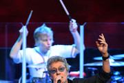 Singer Roger Daltrey (front) and touring drummer Zak Starkey of The Who perform on the first night of the band's residency at The Colosseum at Caesars Palace on July 29, 2017 in Las Vegas, Nevada.