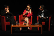 "(L-R) Antonio Monda, actress Julianne Moore and Mario Sesti speak on stage at ""The Kids Are All Right"" press conference during the 5th International Rome Film Festival at Auditorium Parco Della Musica on November 2, 2010 in Rome, Italy."