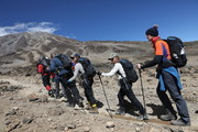 IMAGES AVAILABLE FREE OF CHARGE FOR EDITORIAL USE FOR 48 HOURS FROM CREATE DATE) (STRICTLY EDITORIAL USE ONLY)  (L-R) Anita Rani, Osi Umenyiora, Jade Thirlwall, Dani Dyer and Dan Walker during day six of 'Kilimanjaro: The Return' for Red Nose Day on February 28, 2019 in Arusha, Tanzania, all to raise funds for Comic Relief supported projects in the UK and around the world.