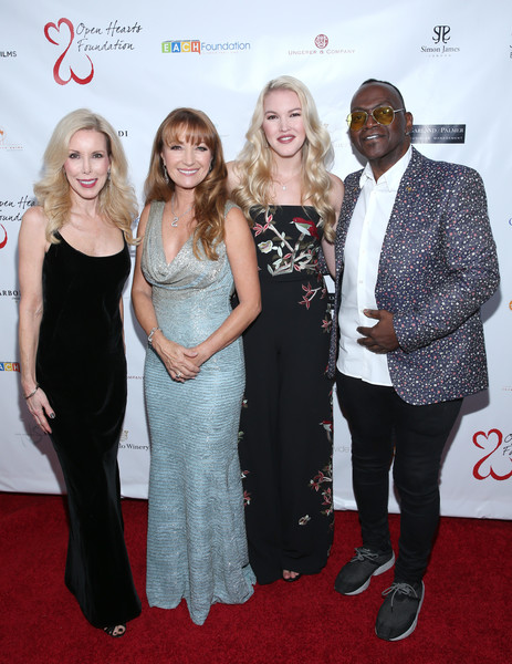 Jane Seymour and the 2017 Open Hearts Gala [jane seymour,kim campbell,ashley campbell,randy jackson,red carpet,carpet,red,event,premiere,flooring,fashion,dress,award,fashion design,open hearts gala,beverly hills,california,sls hotel]