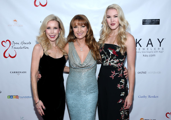 Jane Seymour and the 2017 Open Hearts Gala [jane seymour,kim campbell,ashley campbell,randy jackson,dress,fashion,premiere,event,carpet,little black dress,blond,cocktail dress,fashion design,flooring,open hearts gala,beverly hills,california,sls hotel]