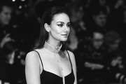 """Image has been converted to black and white.) Janina Uhse attends the """"The Kindness Of Strangers"""" premiere during the 69th Berlinale International Film Festival Berlin at Berlinale Palace on February 07, 2019 in Berlin, Germany."""