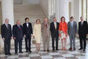 (L-R) Herman van Rompuy, Jean Luc Dehaene, Elio Di Rupo, Queen Paola and King Abert II of Belgium, Prince Philippe and Princess Mathilde of Belgium, Guy Verhofstadt and Yves Leterme pose together at Laeken Castle on July 10, 2013 in Brussels, Belgium.