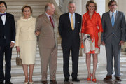 Queen Paola, King Albert II, Prince Philippe and Princess Mathilde of Belgium meet with Prime Minister of Belgium Elio Di Rupo (L) and former Belgian Prime Ministers, including Guy Verhofstadt (R) at Laeken Castle on July 10, 2013 in Brussels, Belgium.