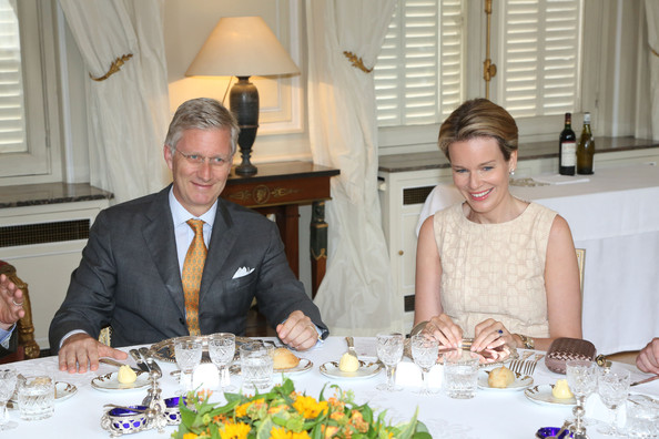 Prince Philippe and Princess Mathilde of Belgium receive Regional Ministers at Laeken Castle on July 12, 2013 in Brussels, Belgium.