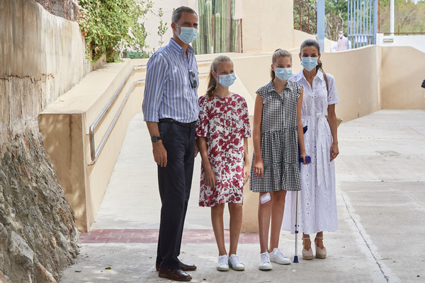 Spanish Royals Visit A Socio-Educational Center In Mallorca [photograph,photograph,people,fashion,event,adaptation,street fashion,dress,photography,vacation,family,dress,royals,felipe vi,letizia,sofia,leonor,spain,socio-educational center in mallorca,spanish,photograph,ceremony,tradition,dress]