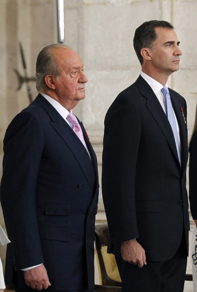 King Juan Carlos of Spain and Prince Felipe of Spain attend the official abdication ceremony at the Royal Palace on June 18, 2014 in Madrid, Spain. King Juan Carlos of Spain's abdication takes effect at midnight local time.