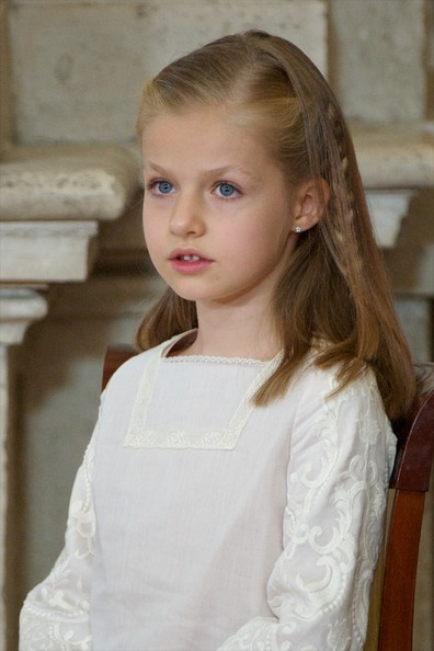 Princess Leonor of Spain attends the official abdication ceremony at the Royal Palace on June 18, 2014 in Madrid, Spain.