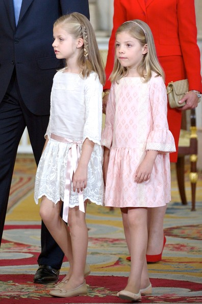 Princess Leonor of Spain (L) and Princess Sofia of Spain attend the official abdication ceremony at the Royal Palace on June 18, 2014 in Madrid, Spain.