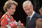 King Philip of Belgium and Queen Mathilde talk to performers on stage during the King Baudouin Support Council gala fundraiser evening in the city theater on October 2, 2018 in Antwerpen, Belgium.