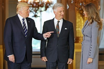King Philippe Trump Is Seen in Brussels for His First Talks With NATO and European Union Leaders