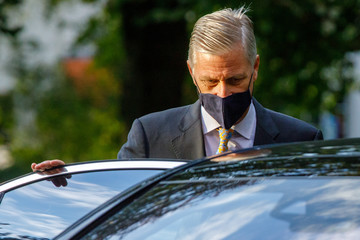 King Philippe of Belgium Princess Eleonore Of Belgium Attends First Day Of School At The Sacred Heart College In Tervuren