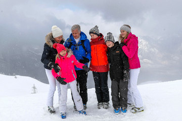 King Philippe of Belgium King Philippe and Queen Mathilde of Belgium on Family Skiing Holiday in Verbier