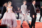 "Lily-Rose Depp, Timothée Chalamet and Director David Michod attend ""The King"" red carpet during the 76th Venice Film Festival at Sala Grande on September 02, 2019 in Venice, Italy."