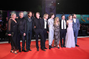 "(L-R) Liz Watts, Ben Mendelsohn, Jeremy Kleiner, Sean Harris, Tom Glynn-Carney, Timothée Chalamet, producer Dede Gardner, director David Michod, Lily-Rose Depp and Joel Edgerton attends ""The King"" red carpet during the 76th Venice Film Festival at Sala Grande on September 02, 2019 in Venice, Italy."