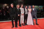 "(L-R) Sean Harris, Tom Glynn-Carney, Timothée Chalamet, director David Michod, Lily-Rose Depp and Joel Edgerton attend ""The King"" red carpet during the 76th Venice Film Festival at Sala Grande on September 02, 2019 in Venice, Italy."