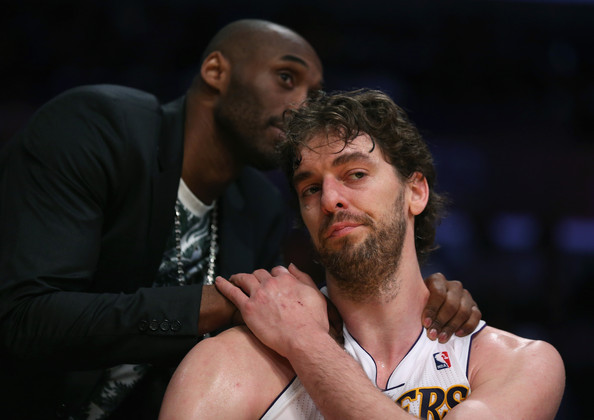 San Antonio Spurs v Los Angeles Lakers [san antonio spurs,los angeles lakers,facial hair,beard,arm,muscle,basketball,sports,competition event,championship,contact sport,games,game,game four,quarterfinals,half,four,pau gasol,user,kobe bryant]