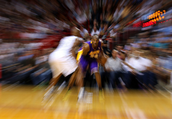 Los Angeles Lakers v Miami Heat [fun,tree,crowd,art,stock photography,kobe bryant,ray allen,editors note: alternate crop,american airlines arena,miami,florida,los angeles lakers,miami heat,game]