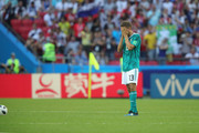 Thomas Mueller of Germany looks dejected following his sides defeat in the 2018 FIFA World Cup Russia group F match between  Korea Republic and Germany at Kazan Arena on June 27, 2018 in Kazan, Russia.