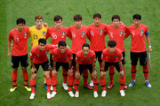 The Korea Republic players pose for a team photo prior to the 2018 FIFA World Cup Russia group F match between Korea Republic and Germany at Kazan Arena on June 27, 2018 in Kazan, Russia.