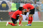 Yong Lee and Son Heung-Min of Korea Republic sohw their dejection during the 2018 FIFA World Cup Russia group F match between Korea Republic and Mexico at Rostov Arena on June 23, 2018 in Rostov-on-Don, Russia.