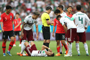 Javier Hernandez of Mexico lies on the pitch injured during the 2018 FIFA World Cup Russia group F match between Korea Republic and Mexico at Rostov Arena on June 23, 2018 in Rostov-on-Don, Russia.