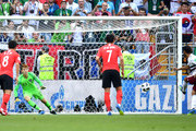 Carlos Vela of Mexico scores past Cho Hyun-Woo of Korea Republic his team's first goal from the penalty spot during the 2018 FIFA World Cup Russia group F match between Korea Republic and Mexico at Rostov Arena on June 23, 2018 in Rostov-on-Don, Russia.