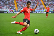 Yong Lee of Korea Republic crosses the ball during the 2018 FIFA World Cup Russia group F match between Korea Republic and Mexico at Rostov Arena on June 23, 2018 in Rostov-on-Don, Russia.