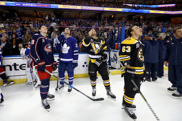 2018 Geico NHL All-Star Skills Competition [college ice hockey,sports,ice hockey,hockey protective equipment,team sport,ice hockey equipment,hockey,player,stick and ball games,bandy,zach werenski 8,kris letang,auston matthews,l-r,nhl,geico,columbus blue jackets,pittsburgh penguins,toronto maple leafs,all-star skills competition]