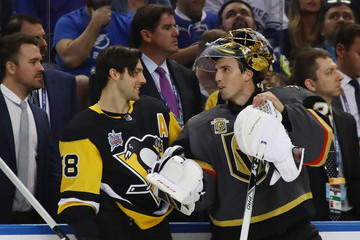 Kris Letang Marc-Andre Fleury 2018 Geico NHL All-Star Skills Competition