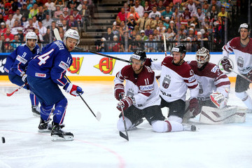 Kristaps Sotnieks Latvia v France - 2015 IIHF Ice Hockey World Championship